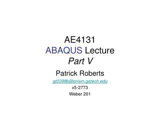 AE4131 ABAQUS  Lecture Part V