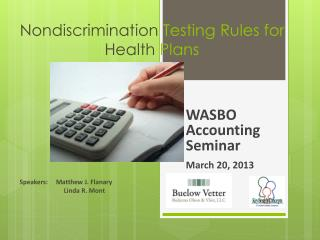 Nondiscrimination  Testing Rules for  Health  Plans