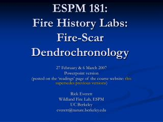 ESPM 181: Fire History Labs: Fire-Scar Dendrochronology