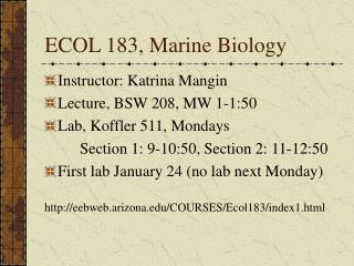 ECOL 183, Marine Biology