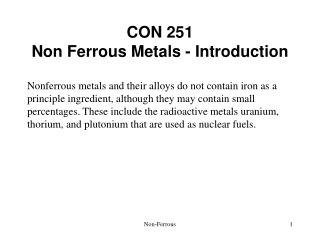 CON 251 Non Ferrous Metals - Introduction