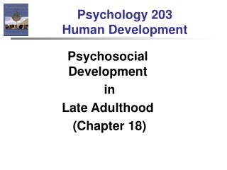 Psychology 203  Human Development