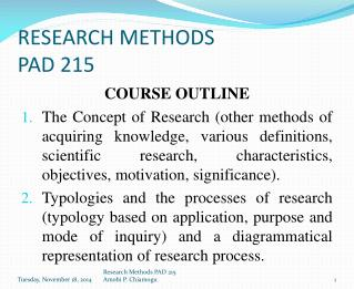 RESEARCH METHODS PAD 215