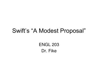 "Swift's ""A Modest Proposal"""