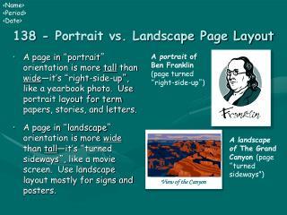 138 - Portrait vs. Landscape Page Layout