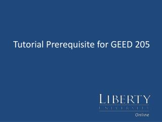 Tutorial Prerequisite for GEED 205