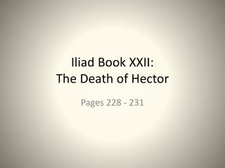 Iliad Book XXII:  The Death of Hector