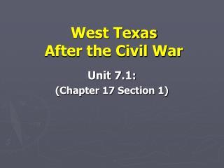 West Texas  After the Civil War