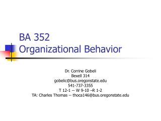 BA 352  Organizational Behavior