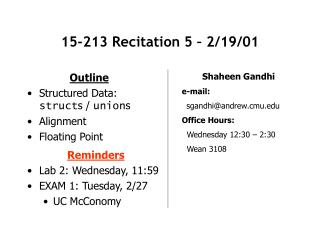 15-213 Recitation 5 – 2/19/01