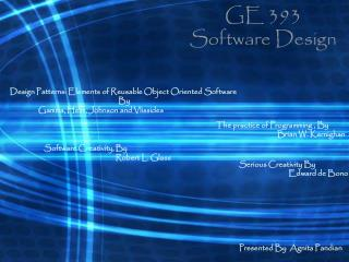 GE 393 Software Design