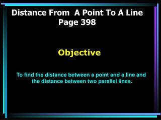 Distance From  A Point To A Line Page 398