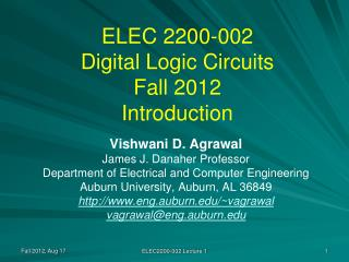 ELEC 2200-002 Digital Logic Circuits Fall 2012 Introduction