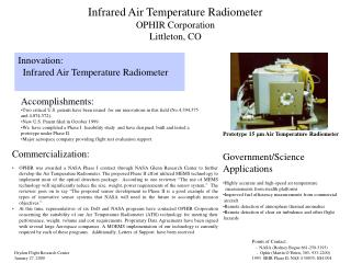 Infrared Air Temperature Radiometer OPHIR Corporation Littleton, CO