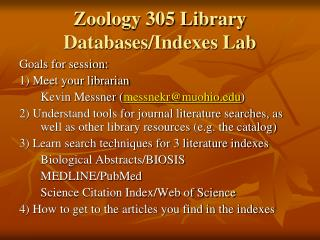 Zoology 305 Library Databases/Indexes Lab