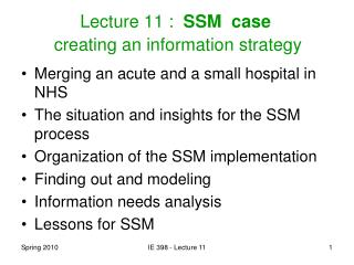 Lecture 11 :   SSM  case   creating an information strategy