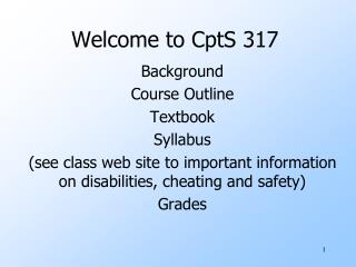 Welcome to CptS 317
