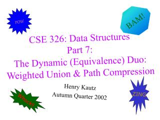 CSE 326: Data Structures Part 7:  The Dynamic (Equivalence) Duo: Weighted Union & Path Compression