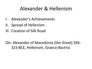 Alexander & Hellenism