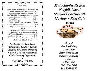 After Hours Menu 1500- 1900 Wing Dings or Zings Served as 8pc---------$7.00