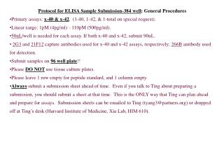 Protocol for ELISA Sample Submission-384 well : General Procedures