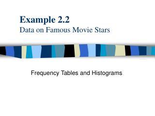 Example 2.2 Data on Famous Movie Stars