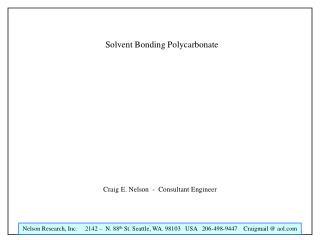 Solvent Bonding Polycarbonate