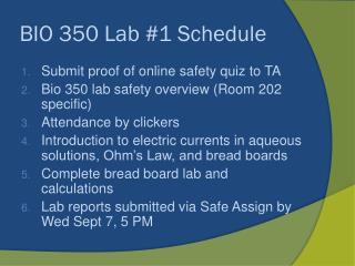 BIO 350 Lab #1 Schedule