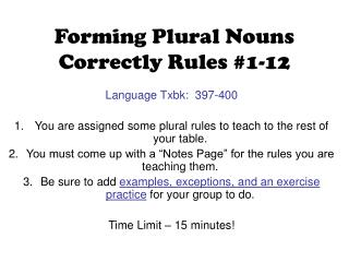 Forming Plural Nouns Correctly Rules #1-12