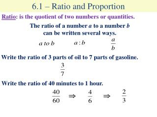 6.1 – Ratio and Proportion
