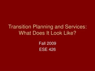 Transition Planning and Services: What Does It Look Like?
