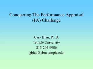 Conquering The Performance Appraisal PA Challenge