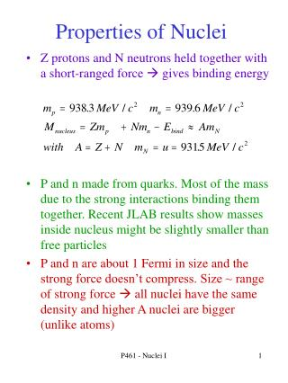 Properties of Nuclei