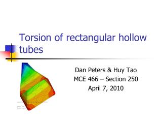 Torsion of rectangular hollow tubes
