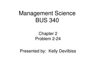 Management Science BUS 340