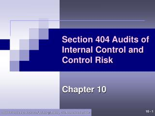 Section 404 Audits of Internal Control and Control Risk