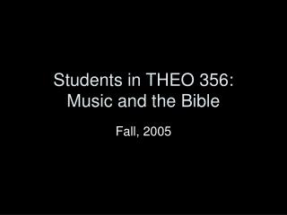 Students in THEO 356: Music and the Bible