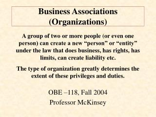 Business Associations (Organizations)