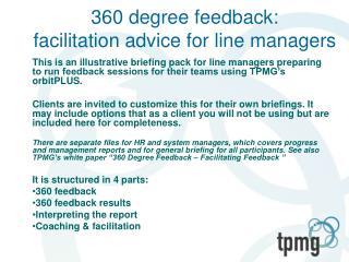 360 degree feedback: facilitation advice for line managers