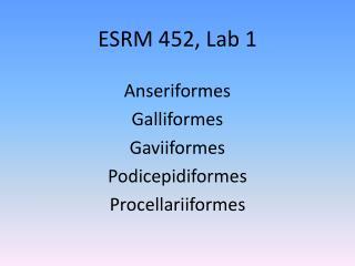 ESRM 452, Lab 1