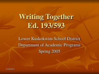Writing Together Ed. 193/593