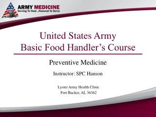United States Army Basic Food Handler's Course