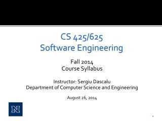 CS 425/625 Software Engineering