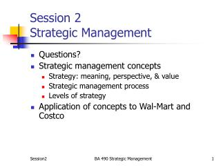 Session 2 Strategic Management