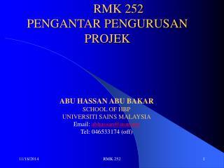 RMK 252 PENGANTAR PENGURUSAN PROJEK