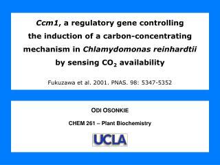 O DI O SONKIE CHEM 261 – Plant Biochemistry