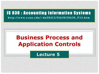 Business  Process  and  Application Controls