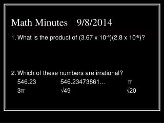 Math Minutes 9/8/2014
