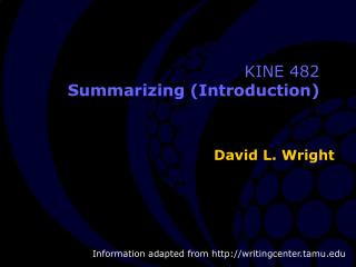 KINE 482 Summarizing (Introduction)