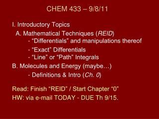 CHEM 433 � 9/8/11